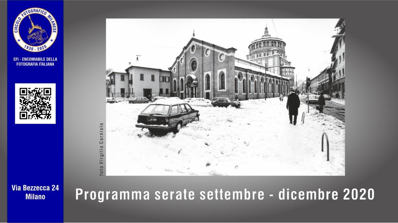PROGRAMMA SERATE SETTEMBRE- DICEMBRE 2020